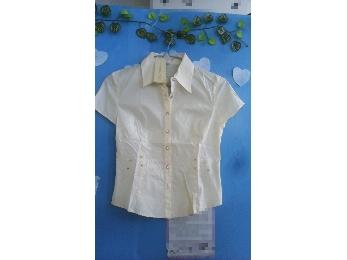 女士绣花短袖衬衫(浅黄)